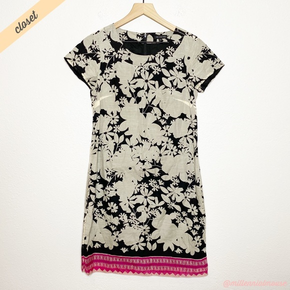 The Limited Dresses & Skirts - [The Limited] Tan Black Floral Print Sheath Dress